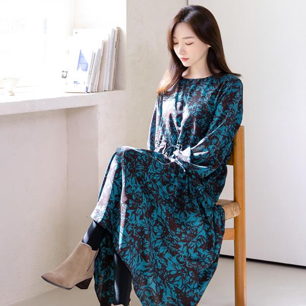misscandy-[no.21148 드로잉플라워 루즈핏 롱원피스]♡韓國女裝連身裙