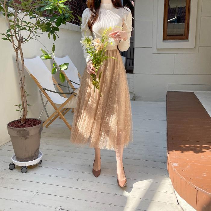 myfiona-(2종세트)진주셔링폴라와 샤스커트 세트 a1889 - 러블리 로맨틱 1위 쇼핑몰 피오나♡韓國女裝套裝