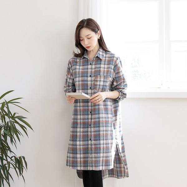 misscandy-[no.21134 피치기모 셔츠타입 체크원피스]♡韓國女裝連身裙