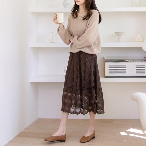 misscandy-[no.21135 허리밴딩 플레어 레이스스커트]♡韓國女裝裙