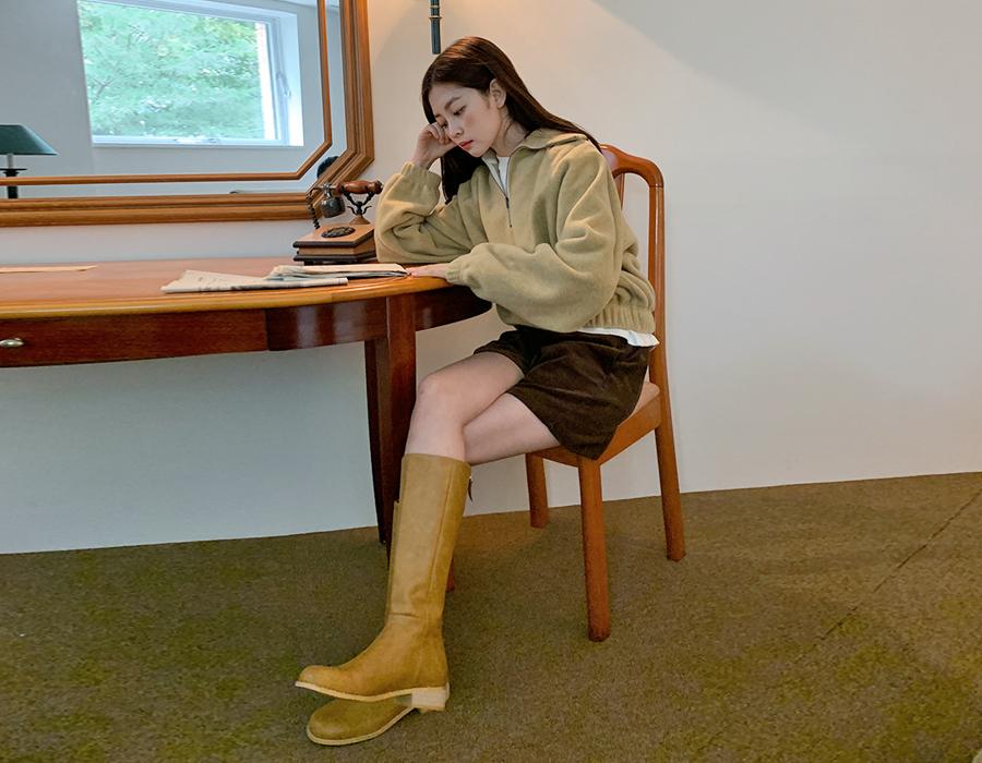 frombeginning-프라하 라운드레더롱부츠 (2color)♡韓國女裝鞋