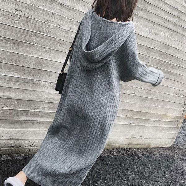 shehj-[데일리 골지 후드 니트 원피스]♡韓國女裝連身裙