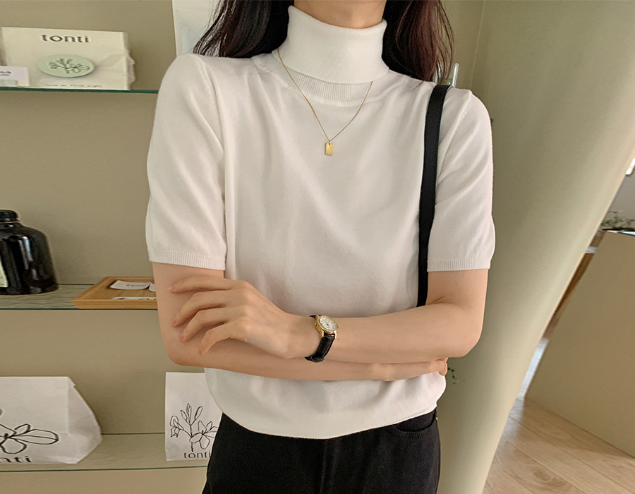 frombeginning-마일드 모달반팔폴라니트 (4color)♡韓國女裝上衣