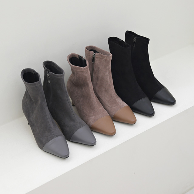 tiramisu-TR/앞코배색앵글부츠♡韓國女裝鞋