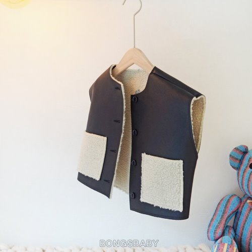 bongsbaby-리얼블랙무스탕조끼♡韓國童裝外套
