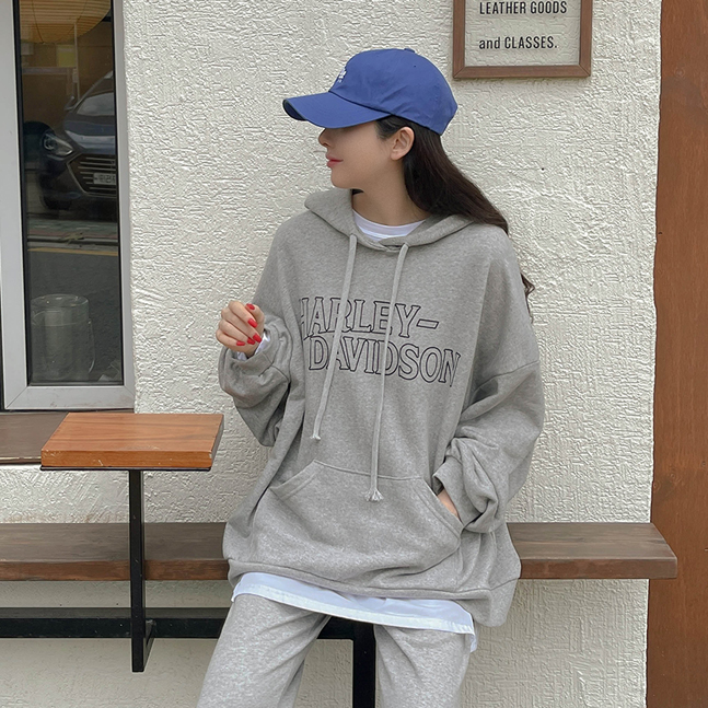 sonyunara-할리 프린팅 쭈리 캥거루포켓 박시핏 후드티♡韓國女裝上衣