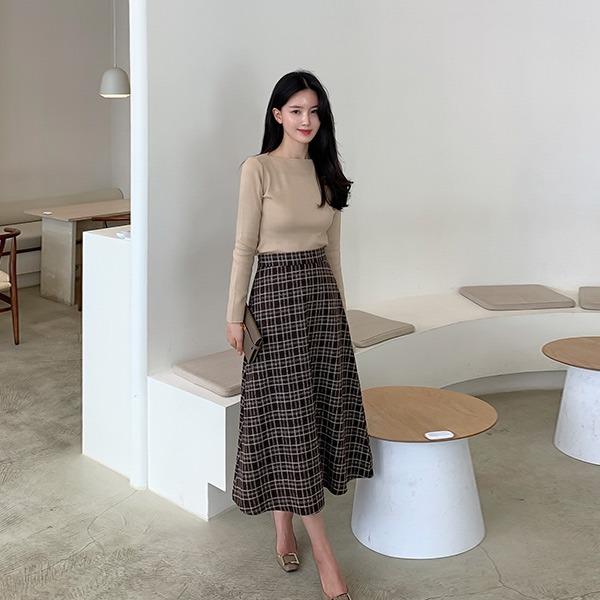 benito-젠타 플레어 롱 스커트 신상/베스트/간절기/가을여성/체크패턴/하객/하객룩/키작녀/플레어/체크/A라인/데일리♡韓國女裝裙