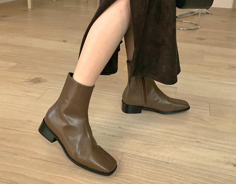 frombeginning-모던컬러 레더앵클부츠 (3color)♡韓國女裝鞋