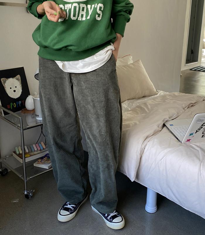 sibuya-[와플 코듀로이 루즈 핏 pt]♡韓國女裝褲