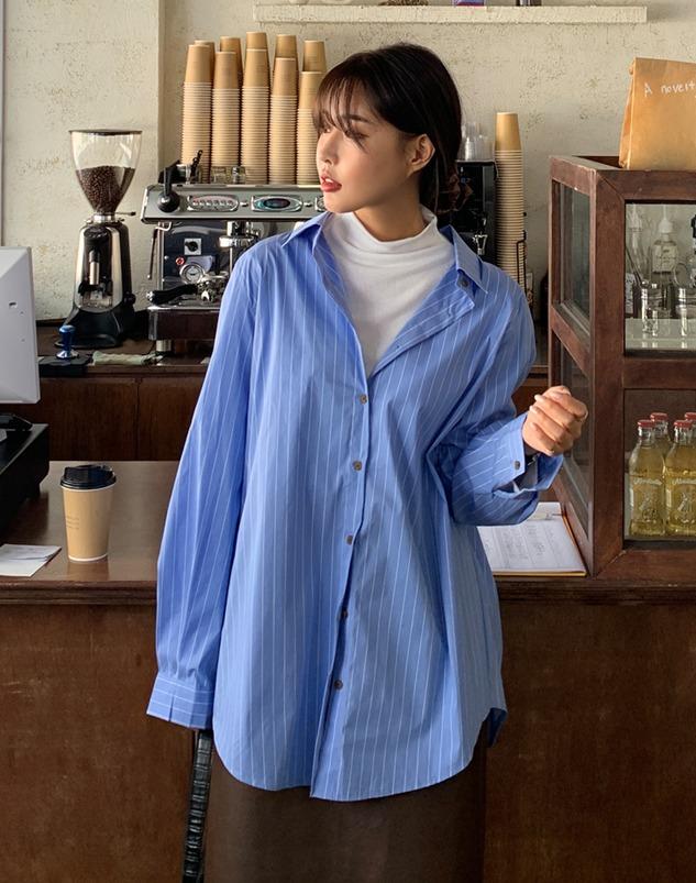 loloten-그렛 스트라이프 셔츠♡韓國加大碼上衣