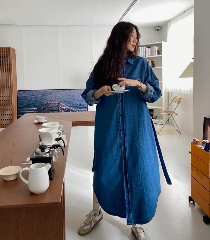 sibuya-[벨트 데님 셔츠 ops]♡韓國女裝連身裙