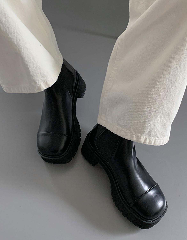 blackup-럽힌 레더 플랫폼부츠♡韓國女裝鞋
