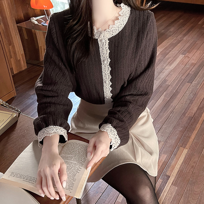 myfiona-로웨 플라워레이스띠 배색 가디건 a1893 - 러블리 로맨틱 1위 쇼핑몰 피오나♡韓國女裝外套