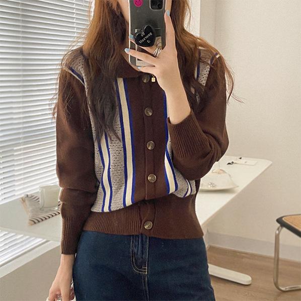 fashion-full-모리드 카라 니트 가디건(TIME SALE 10%)♡韓國女裝外套