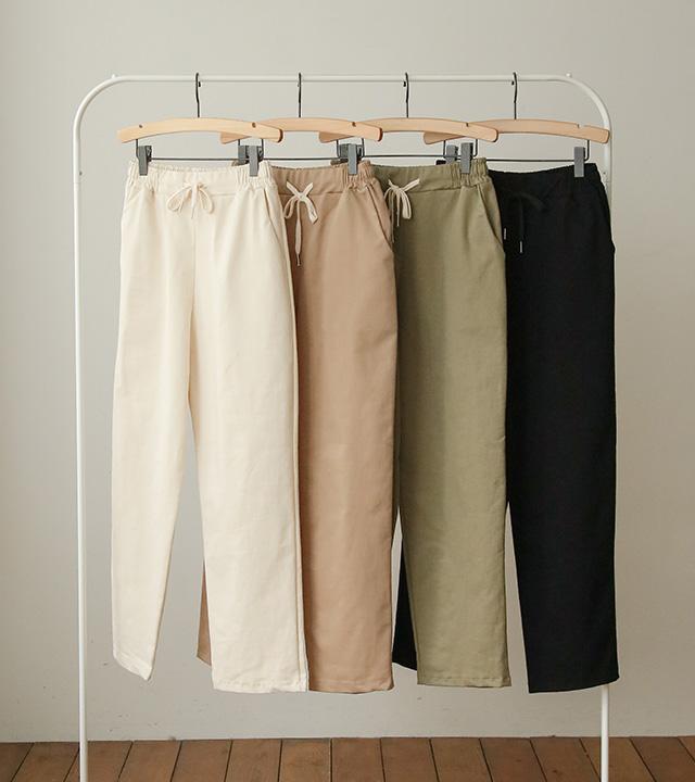 roompacker-룸페커 [로우 루즈핏 밴딩 배기팬츠]♡韓國女裝褲