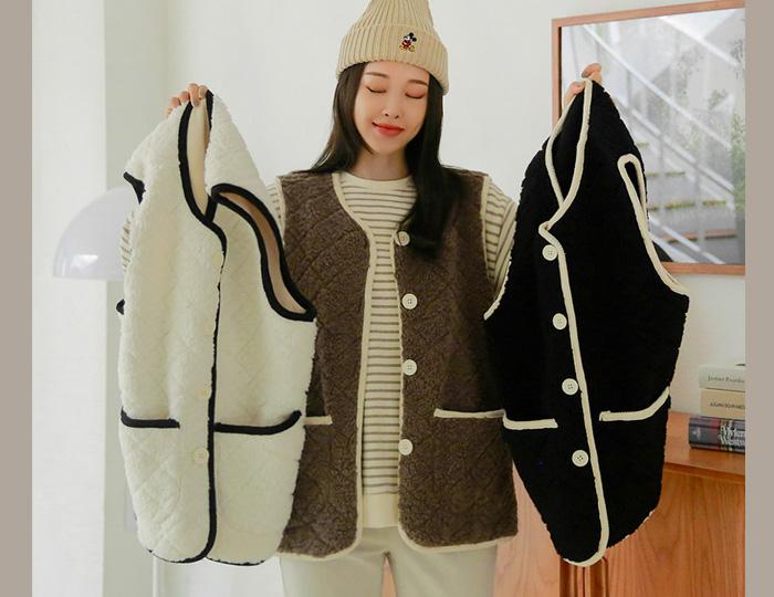 pinksisly-데이데이 퀼팅 덤블 조끼♡韓國女裝外套