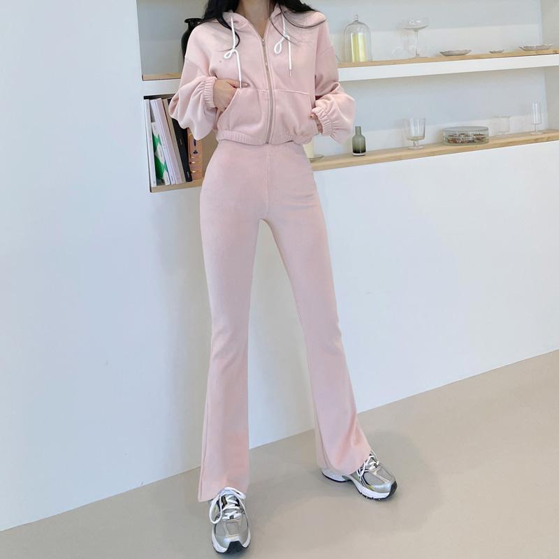 vanillasecond-밍크골지부츠컷트레이닝세트♡韓國女裝套裝
