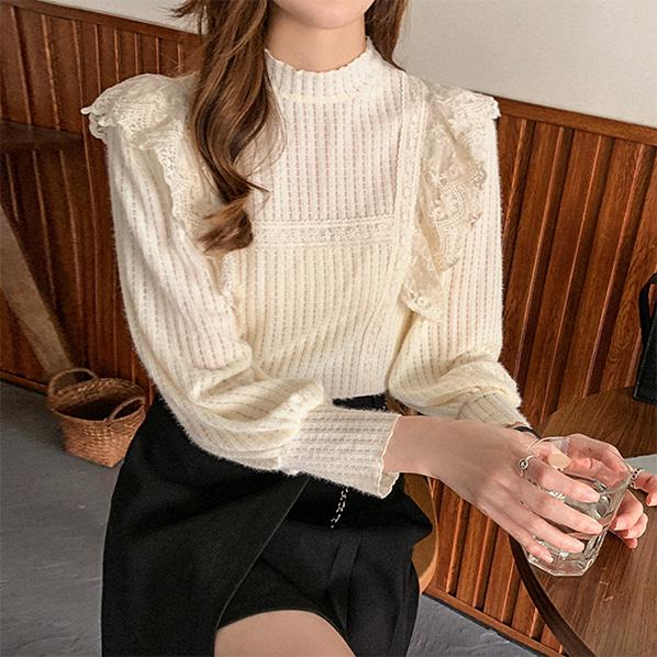fashion-full-몽니니 기모 레이스 블라우스(TIME SALE 20%)♡韓國女裝上衣