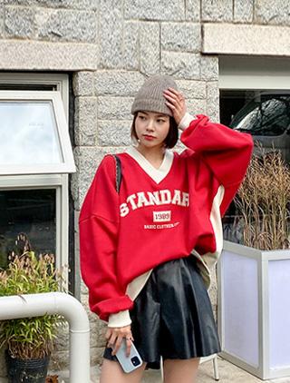 jstyleshop-[로뷰엔 V넥 프린팅 기모 맨투맨]♡韓國加大碼上衣