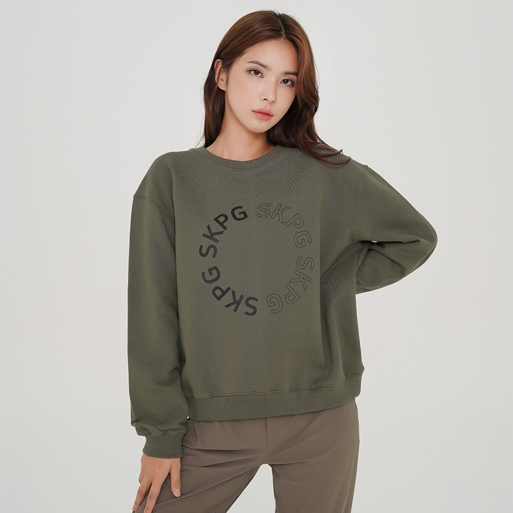 skullpig-SKPG 라운드 로고 맨투맨 카키♡韓國瑜伽女裝上衣