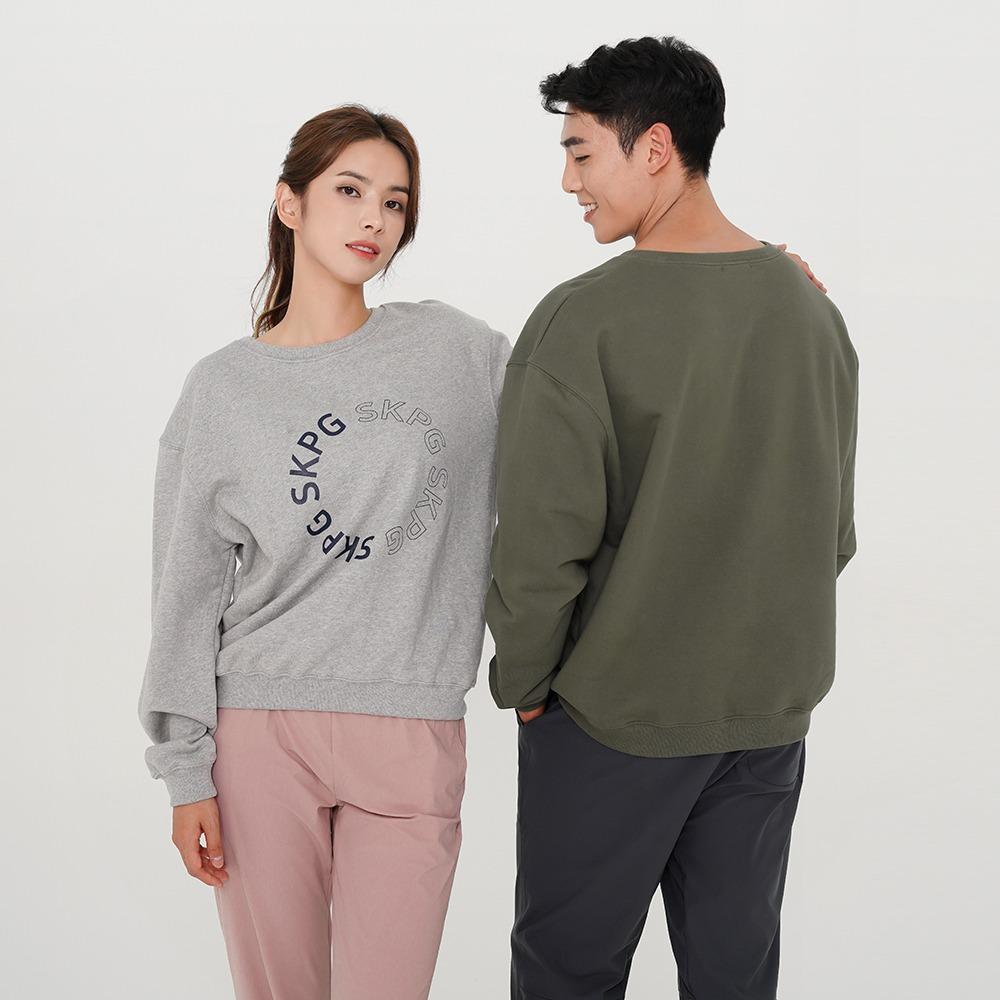 skullpig-SKPG 라운드 로고 맨투맨 멜란지♡韓國瑜伽女裝上衣