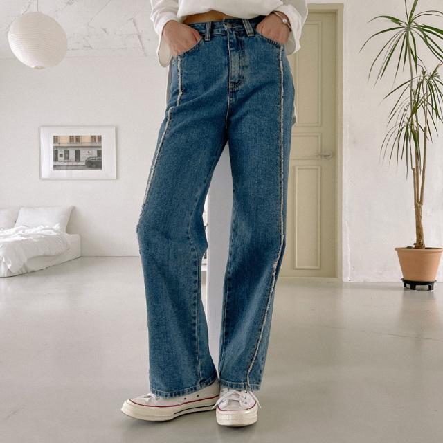 banharu-반하루[테슬 와이드 절개데님팬츠]♡韓國女裝褲