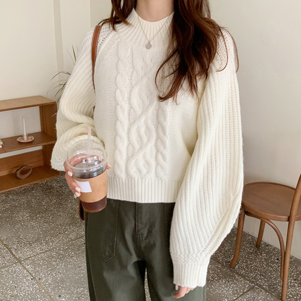 66girls-울도톰꽈배기벌룬니트♡韓國女裝上衣