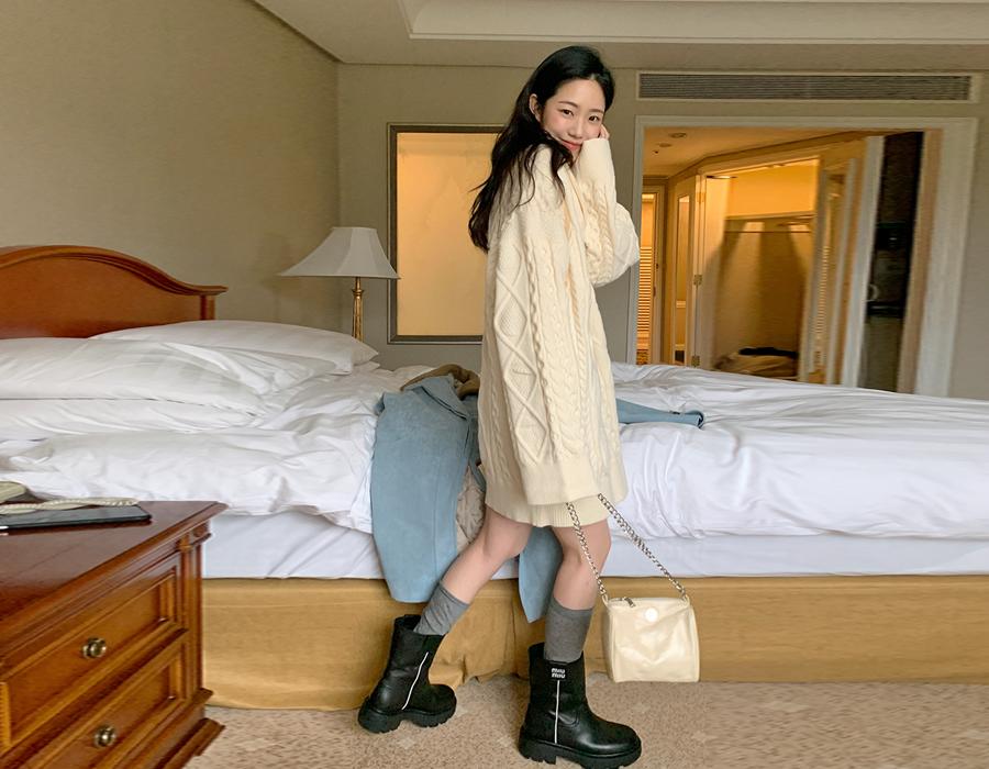 frombeginning-숄카라 케이블니트미니원피스 (2color)♡韓國女裝連身裙