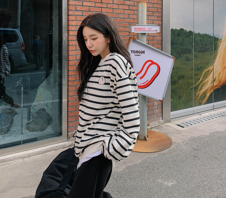 lylon-찰리단가라기모맨투맨♡韓國女裝上衣