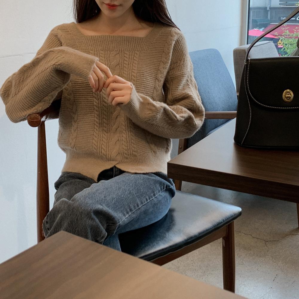 cherrykoko-[스퀘어 벌룬 니트]♡韓國女裝上衣