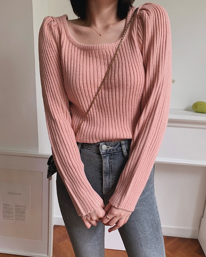 906studio-미드나잇 스퀘어넥골지니트♡韓國女裝上衣
