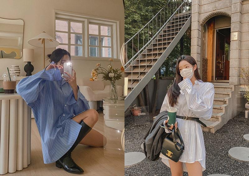 maybins-누벤 스트라이프 셔츠 원피스♡韓國女裝連身裙