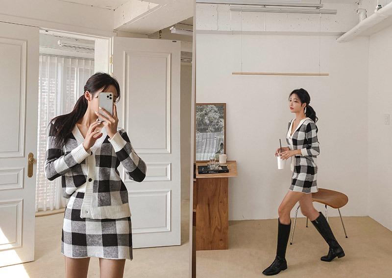 maybins-에픈 가디건&스커트set♡韓國女裝套裝
