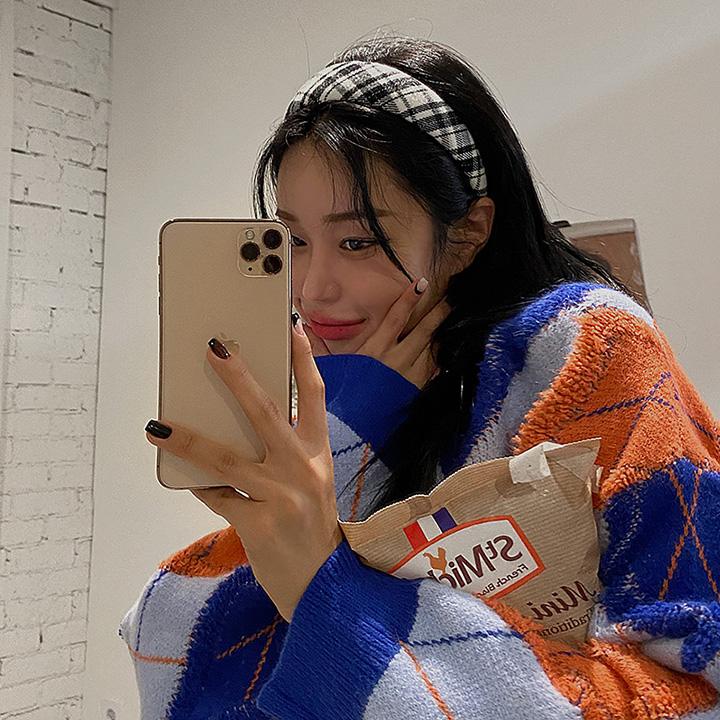 lagirl-볼류밍체크-hairband♡韓國女裝飾品
