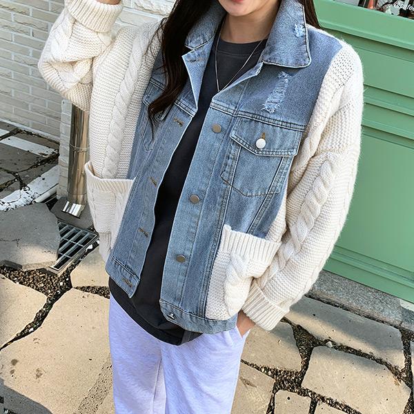 chicfox-니트콤비 데님자켓♡韓國女裝外套
