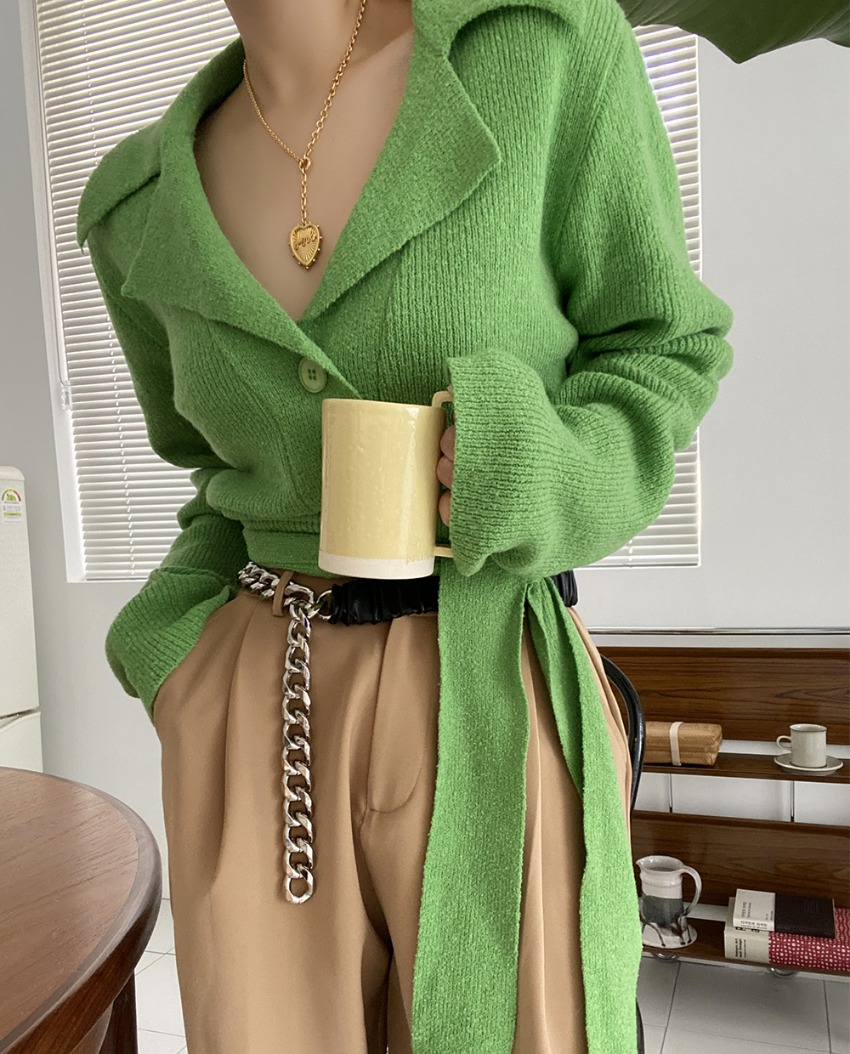 myclassy-terry back crop wrap knit♡韓國女裝上衣