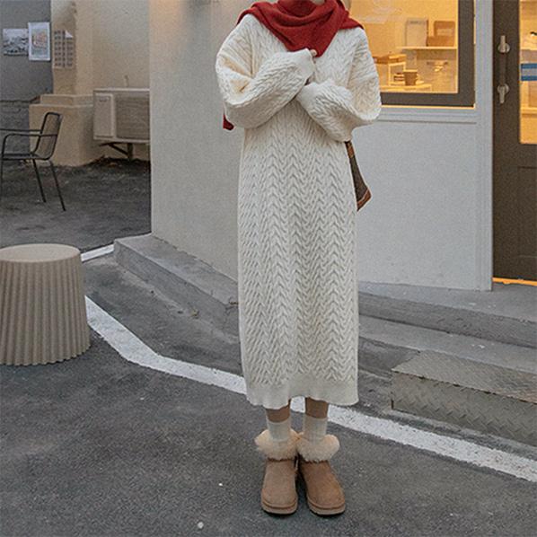 fashion-full-코헴 브이넥 니트 원피스(TIME SALE 20%)♡韓國女裝連身裙