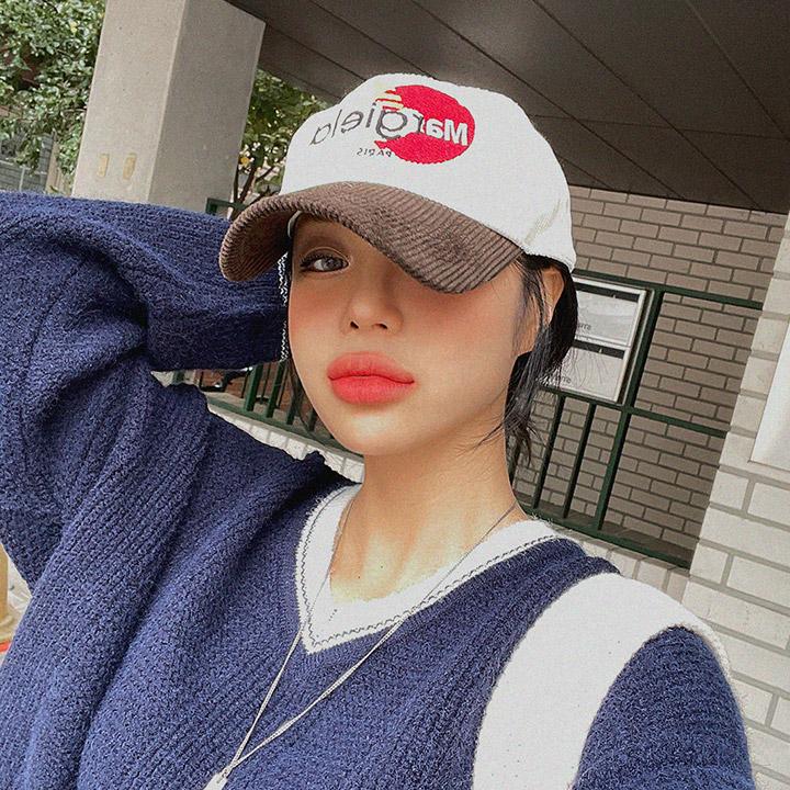 lagirl-코듀로이배색자수볼캡-cap♡韓國女裝飾品