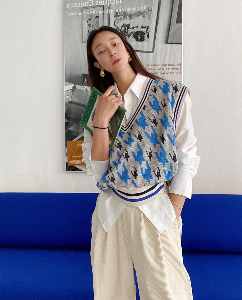 myclassy-houndstooth knit vest♡韓國女裝外套