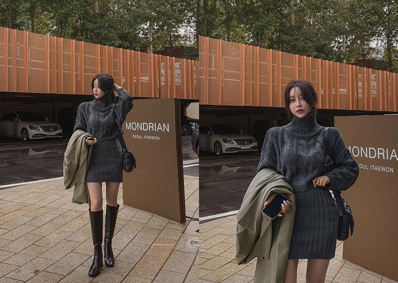 maybins-솝 꽈배기 니트&스커트set♡韓國女裝套裝
