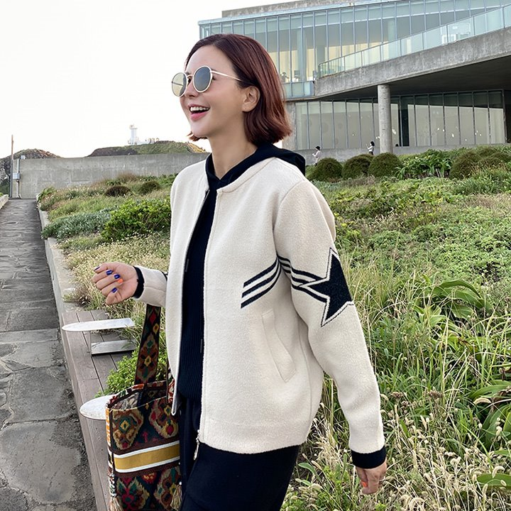 lemite-스타라인 퍼니트집업♡韓國女裝外套