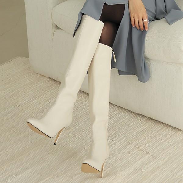 ode-[소프트 레더 스틸레토 롱부츠]♡韓國女裝鞋