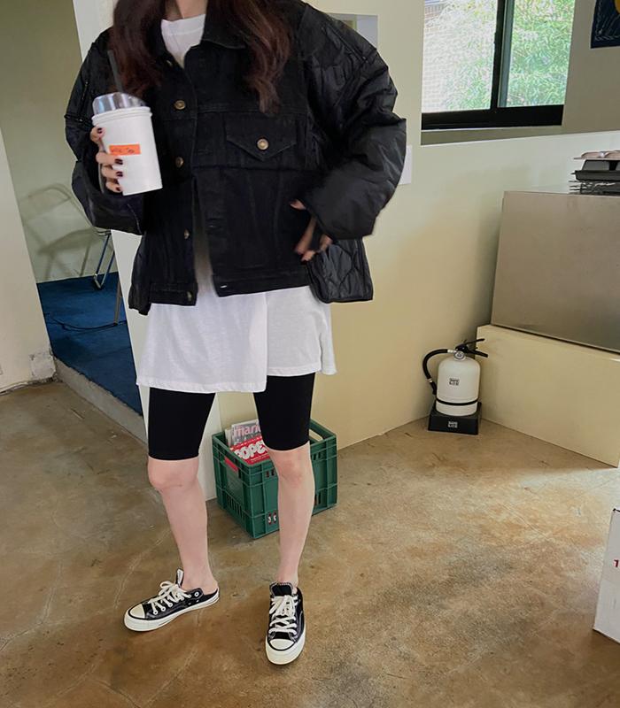 sibuya-[하프 와이드 데님 퀼팅 jk]♡韓國女裝外套
