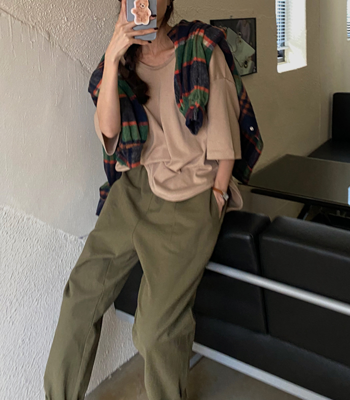 sibuya-[피치 스판 루즈 tee]♡韓國女裝上衣