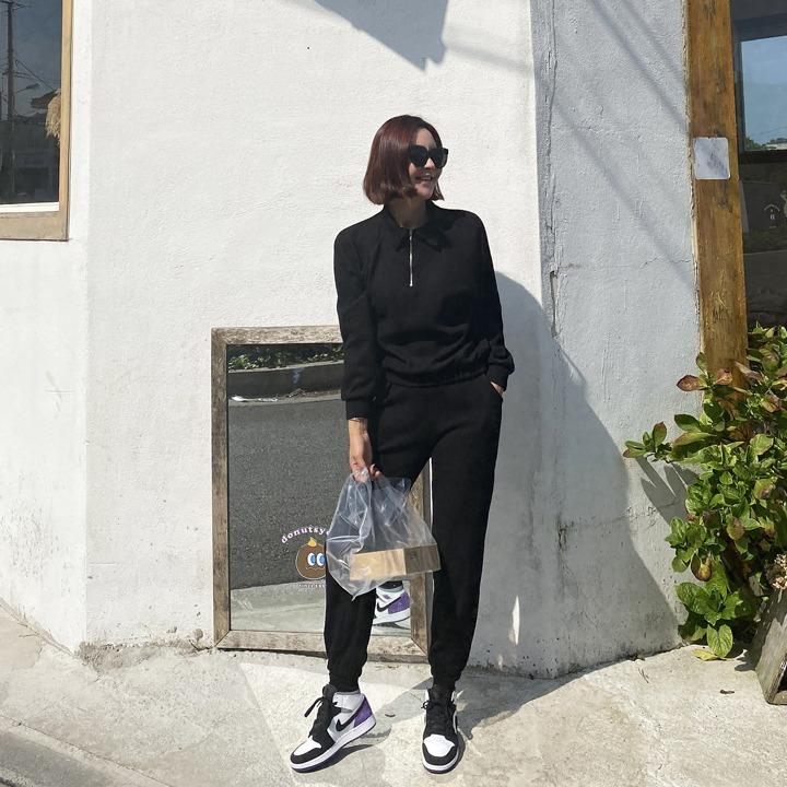 lemite-반집업조거 세트(맨투맨+조거팬츠)♡韓國女裝套裝