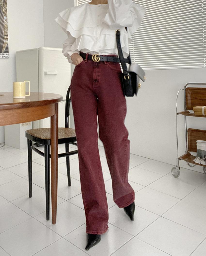 myclassy-Pinot Noir Denim Pants♡韓國女裝褲