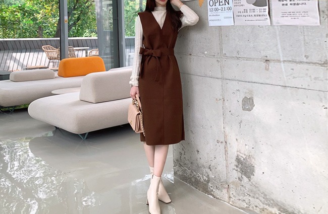 minsshop-(벨트set)블랑 울혼방 원피스(주문폭주!)♡韓國女裝連身裙