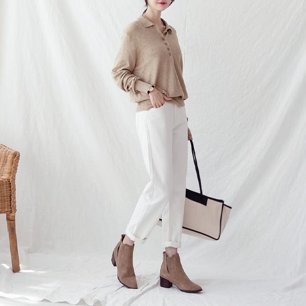 misscandy-[no.21115 반밴딩 세미보이핏 코튼팬츠]♡韓國女裝褲