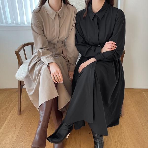 benito-[made]마르니에 벨트 원피스 신상/베스트/간절기/벨트/카라/셔츠/무지/기본/하객/하객룩/가을여성/데일리♡韓國女裝連身裙