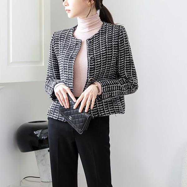 misscandy-[no.21122 울혼방 노카라 트위드자켓]♡韓國女裝外套